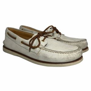 SPERRY Gold Cup Original Boat Shoes Ivory Leather